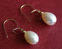 12MM WHITE FRESHWATER CULTURED PEARL DROP EARRINGS ON 9CT GOLD